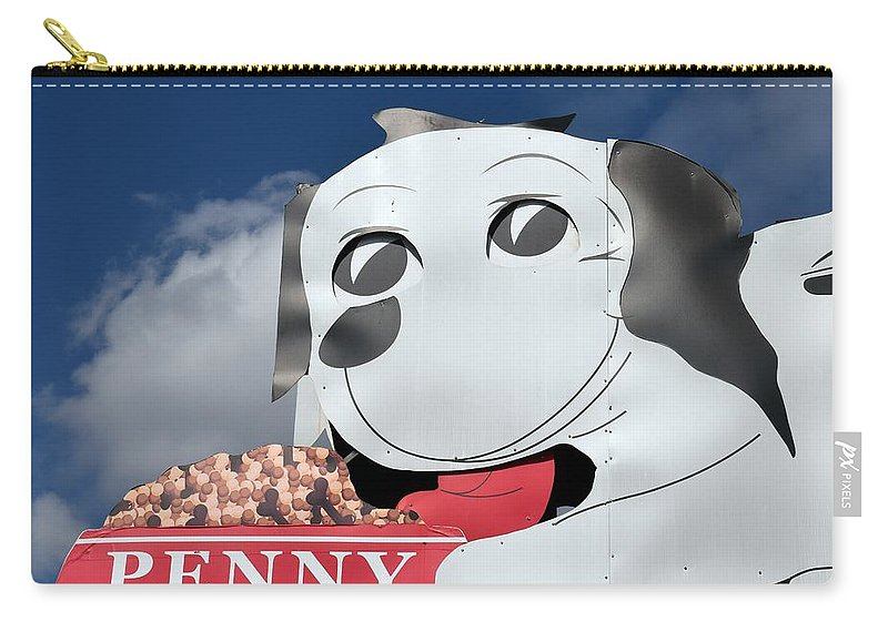 Penny Carry-all Pouch featuring the photograph Penny Dog Food Sign 3 by Timothy Smith