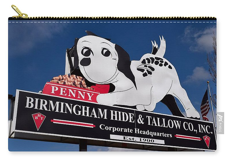 Penny Carry-all Pouch featuring the photograph Penny Dog Food Sign 1 by Timothy Smith