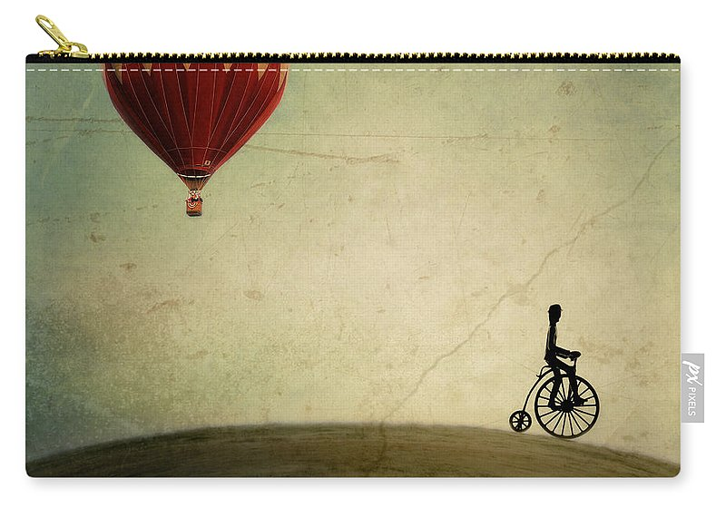 Hot Air Balloon Carry-all Pouch featuring the photograph Penny Farthing For Your Thoughts by Irene Suchocki