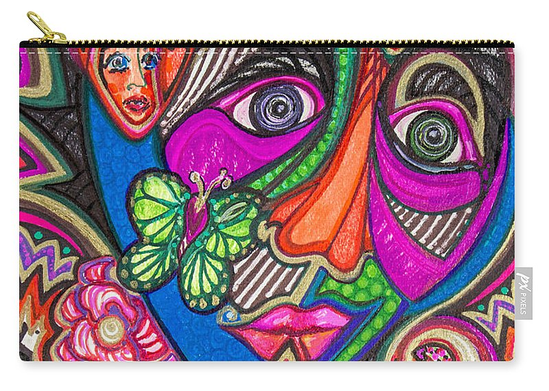 Heart Carry-all Pouch featuring the painting Penny For Your Thoughts by Laurel Rosenberg