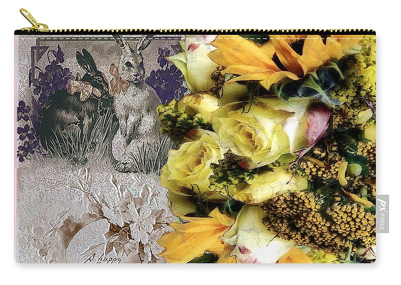 Bouquet Carry-all Pouch featuring the painting Penny Postcard Easter by RC DeWinter