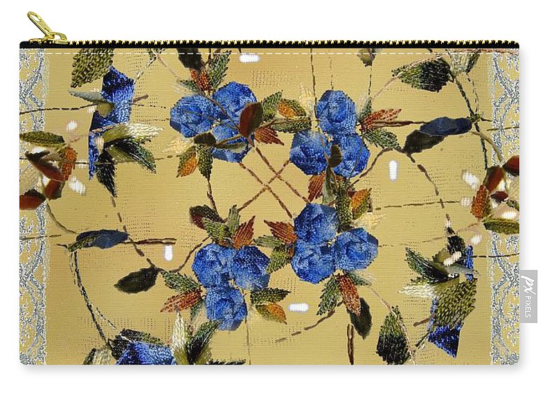 Delicate Carry-all Pouch featuring the painting Penny Postcard Silk-stitched by RC DeWinter