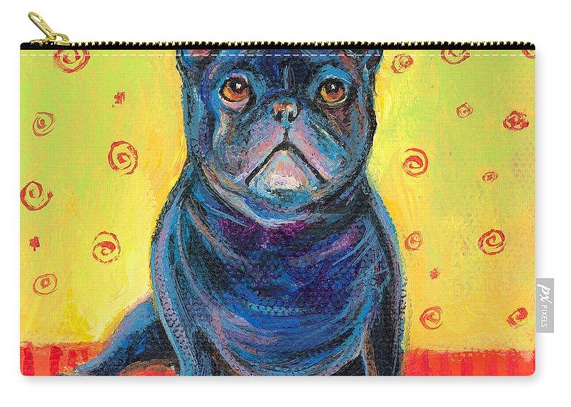 French Bulldog Art Carry-all Pouch featuring the painting Pensive French Bulldog Painting Prints by Svetlana Novikova