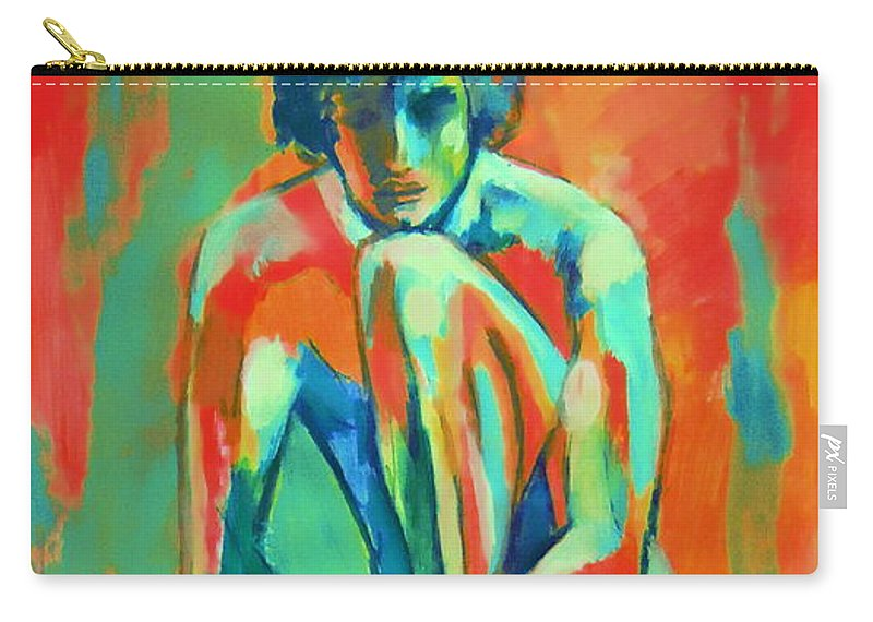Nude Figures Carry-all Pouch featuring the painting Pensive Male Figure by Helena Wierzbicki