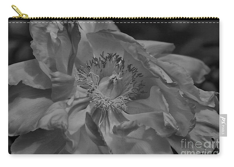 Peonie Carry-all Pouch featuring the photograph Peonie In Bw by Deborah Benoit