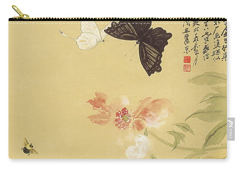 Lotus Plum Peony Flower Carry-all Pouch featuring the painting Peonies And Butterflies by Zhang Daqian