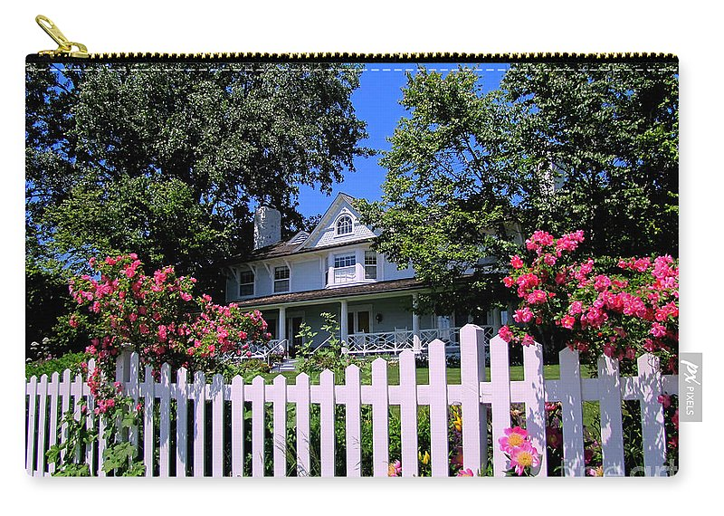 Mackinac Island Carry-all Pouch featuring the photograph Peonies And Picket Fences by Betsy Foster Breen