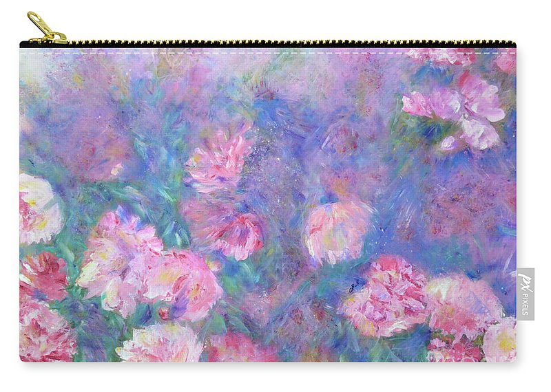 Peonies Carry-all Pouch featuring the painting Peonies by Claire Bull