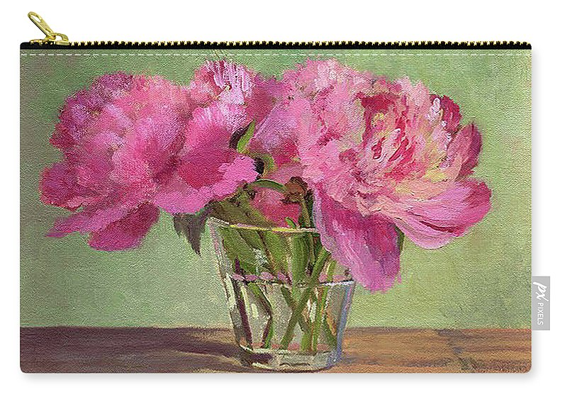 Still Carry-all Pouch featuring the painting Peonies In Tumbler by Keith Burgess