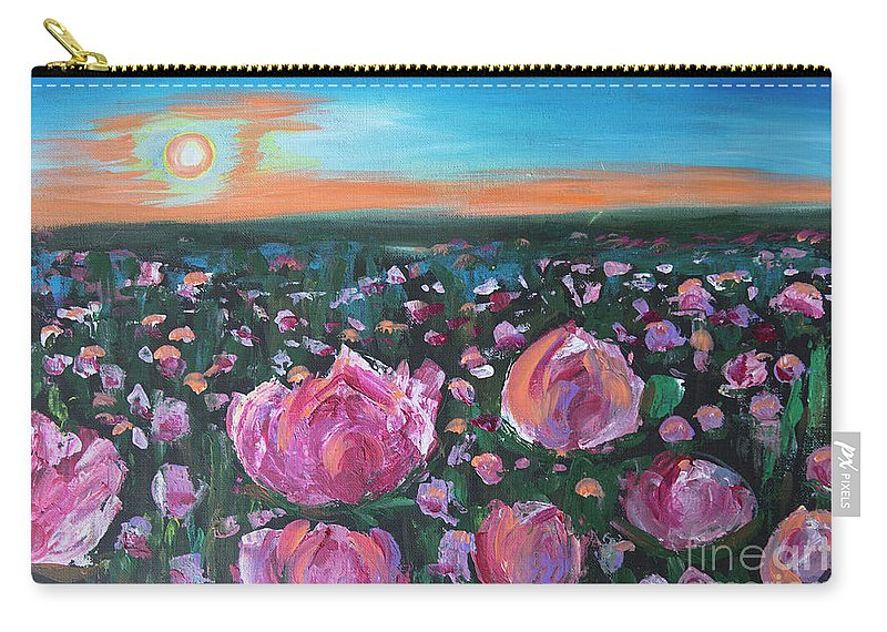 Peonies Carry-all Pouch featuring the painting Peonies by Yana Sadykova