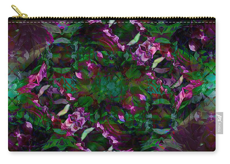 Abstract Carry-all Pouch featuring the digital art Peony Explosion by Andrea Swiedler