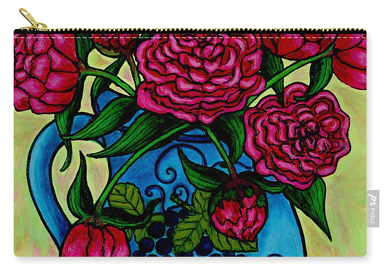Peonies Carry-all Pouch featuring the painting Peony Party by Lisa Lorenz