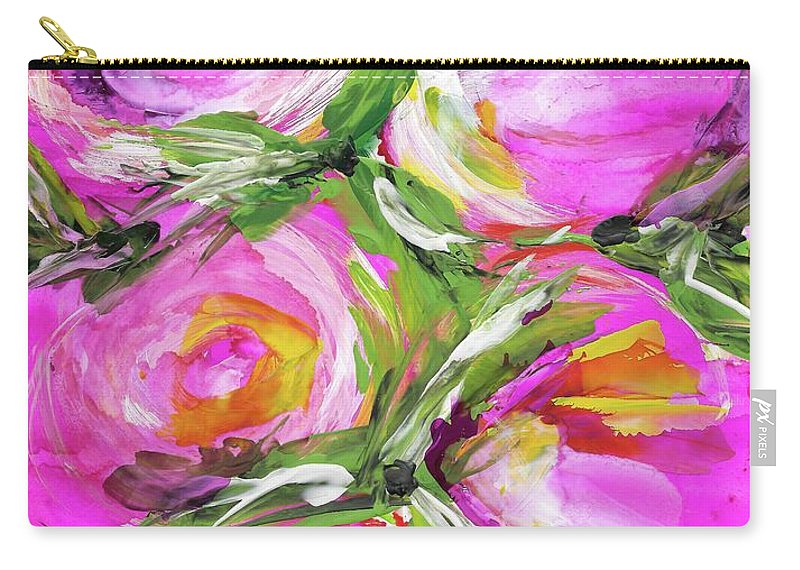 Peony Carry-all Pouch featuring the painting Peony Punch by Bonny Butler