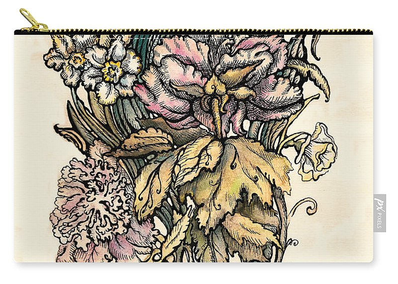 Watercolor Flower Carry-all Pouch featuring the drawing Peony by Tais Karelina