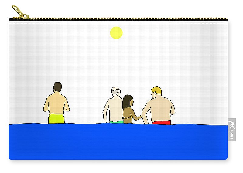 Men Carry-all Pouch featuring the digital art People In Pool by Olivia Domingos