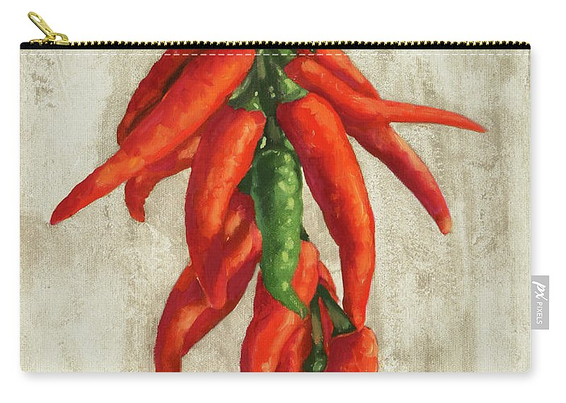 Spicy Pepper Carry-all Pouch featuring the painting Peperoncini Piccanti by Guido Borelli