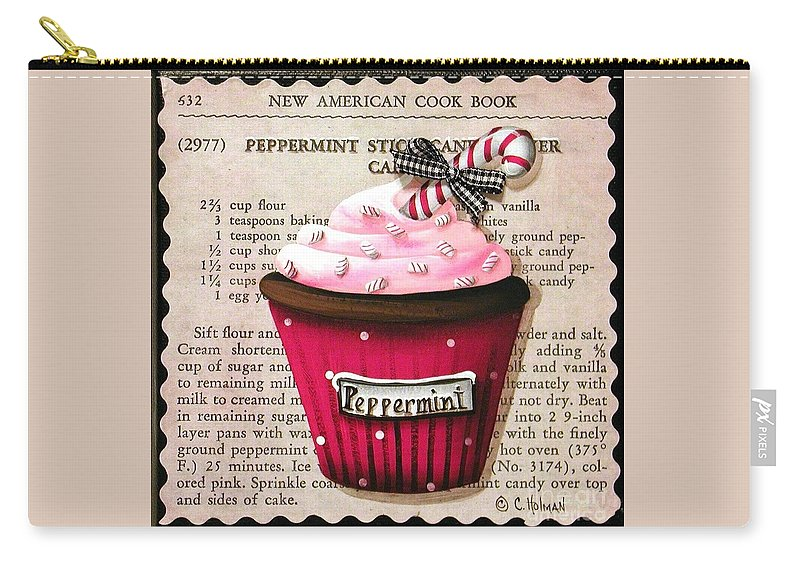 Art Carry-all Pouch featuring the painting Peppermint Stick Christmas Cupcake by Catherine Holman
