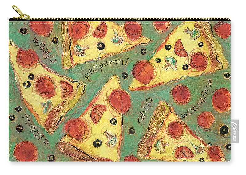 Pizza Carry-all Pouch featuring the painting Pepperoni Pizza by Jen Norton
