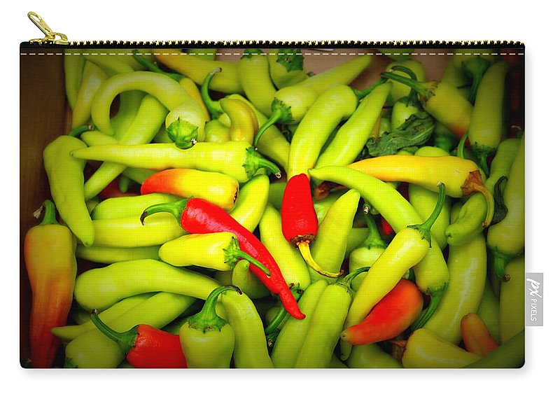 Peppers Carry-all Pouch featuring the photograph Peppers by Tina Meador