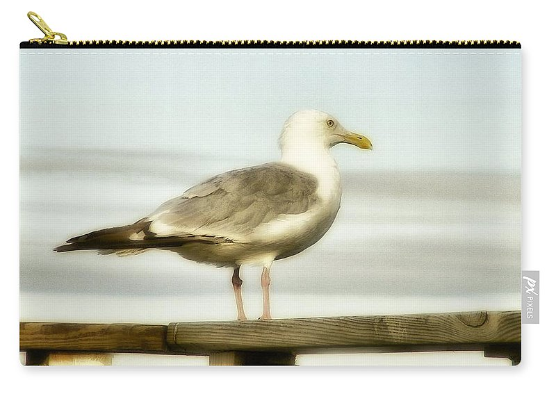 Seagull Outdoor Carry-all Pouch featuring the photograph Perch By The Water by Gothicrow Images