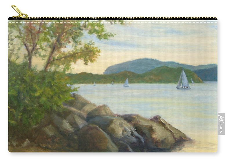 Landscape Painting Carry-all Pouch featuring the painting Perfect Day for a Sail by Phyllis Tarlow
