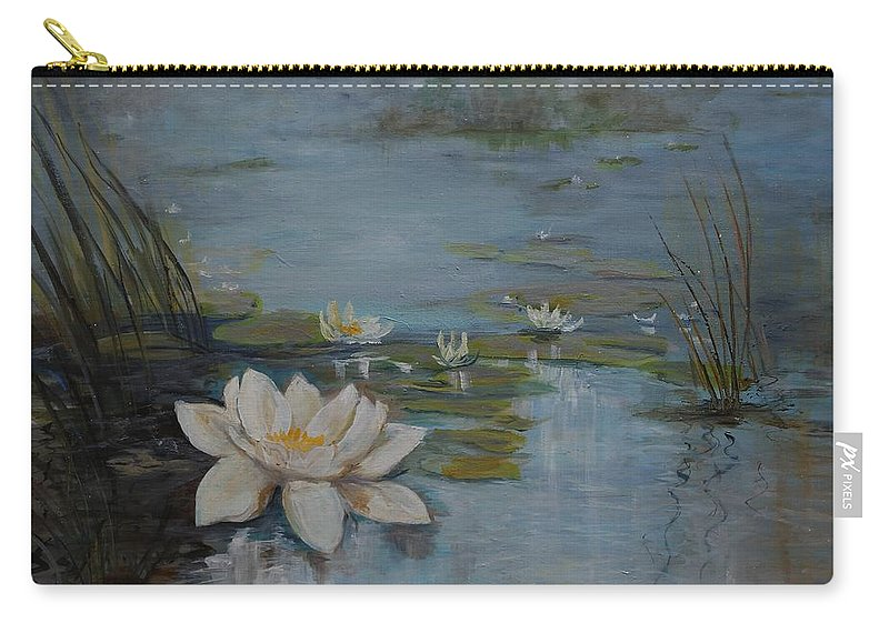 Water Lily Carry-all Pouch featuring the painting Perfect Lotus - Lmj by Ruth Kamenev