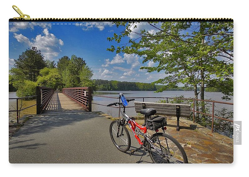 Nature Carry-all Pouch featuring the photograph Perfect Weather For Cycling At Lake Brandt by Matt Taylor