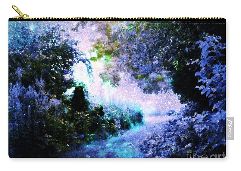 Fantasy Landscape Carry-all Pouch featuring the digital art Fantasy Garden Path Periwinkle by Johari Smith