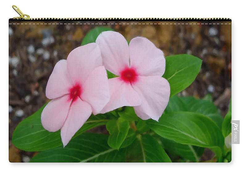 Periwinkle Flower Carry-all Pouch featuring the painting Periwinkle Flower 2 by Jeelan Clark