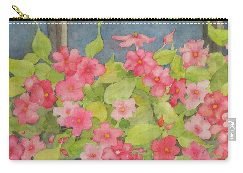 Flowers Carry-all Pouch featuring the painting Perky by Mary Ellen Mueller Legault