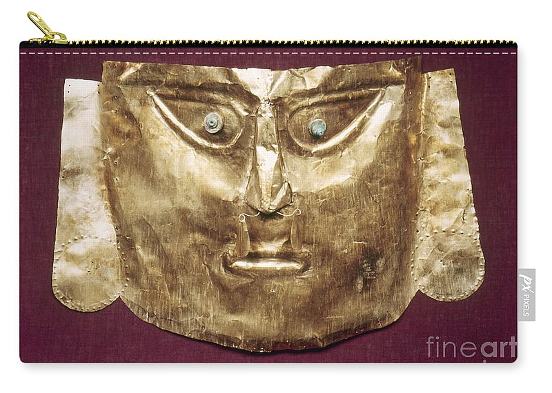 13th Century Carry-all Pouch featuring the photograph Peru: Chimu Gold Mask by Granger