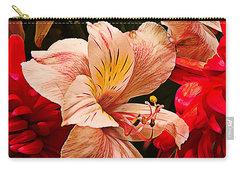 Yellow Carry-all Pouch featuring the photograph Peruvian Lily Grain by Bill Tiepelman