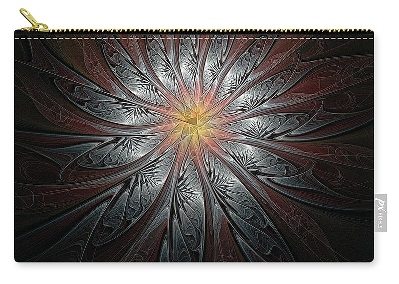 Digital Art Carry-all Pouch featuring the digital art Petals In Pewter by Amanda Moore