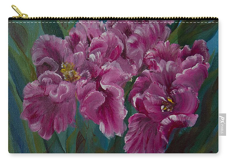 Flowers Carry-all Pouch featuring the painting Parrot Tulips by Jacqueline Whitcomb