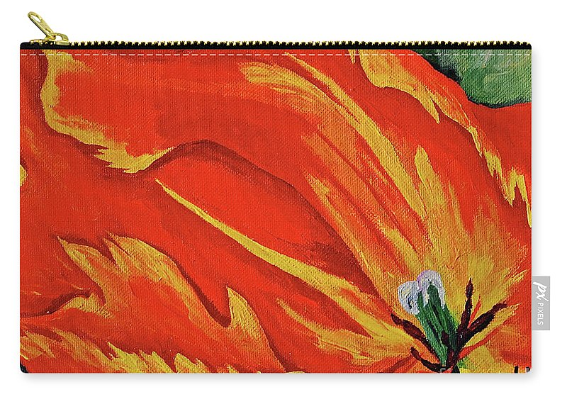 Flowers Tulips Red By Herschel Fall Carry-all Pouch featuring the painting Petals Of Fire Four by Herschel Fall