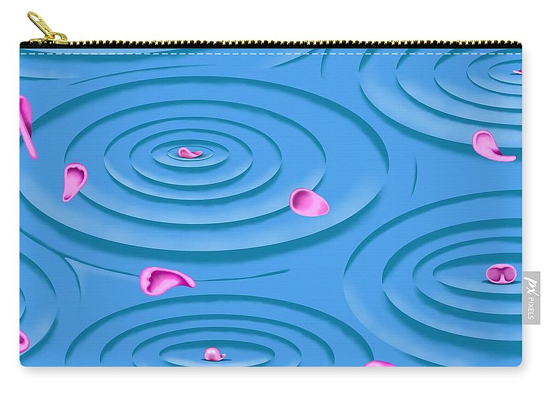 Surrealism Carry-all Pouch featuring the digital art Petals on Water I by Robert Morin