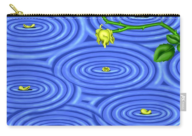 Surrealism Carry-all Pouch featuring the digital art Petals on Water III by Robert Morin