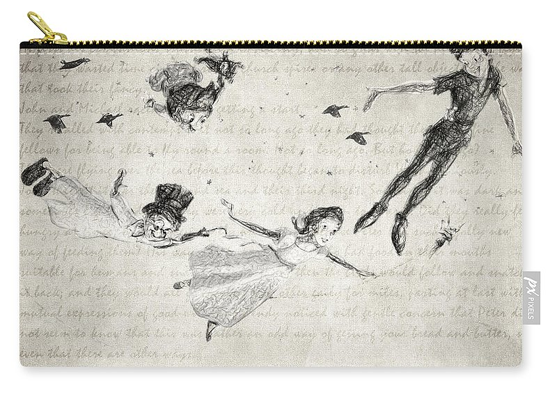 Peter Pan Carry-all Pouch featuring the drawing Peter Pan Quote by Zapista