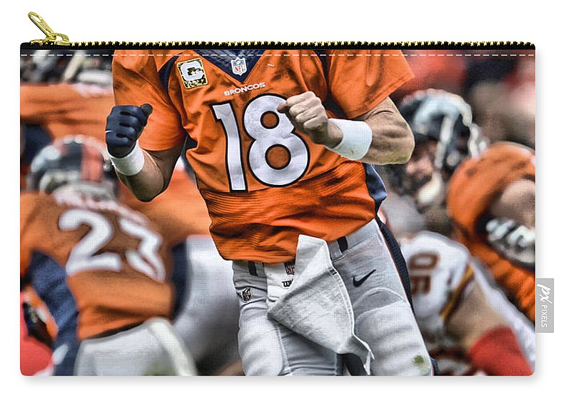 Peyton Manning Carry-all Pouch featuring the painting Peyton Manning Art 2 by Joe Hamilton