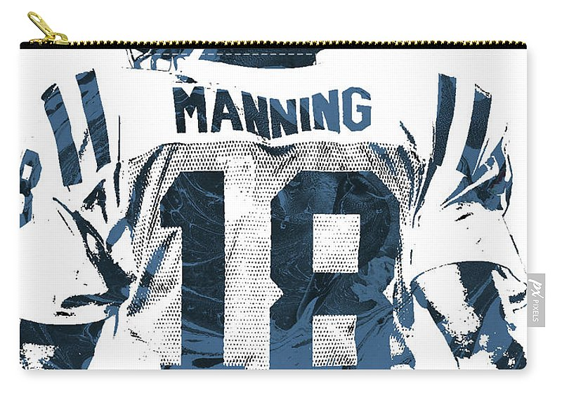 Peyton Manning Carry-all Pouch featuring the mixed media Peyton Manning Indianapolis Colts Pixel Art by Joe Hamilton