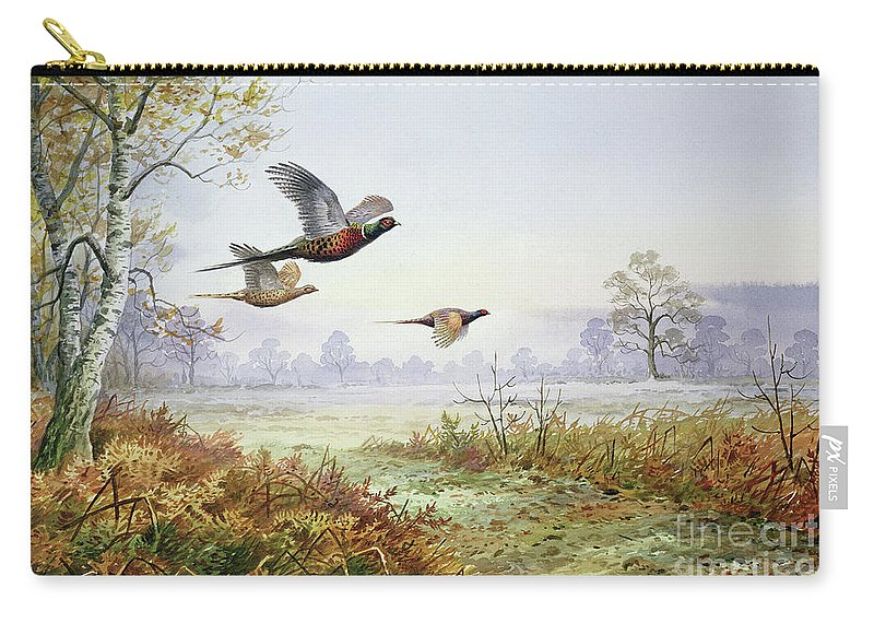 Pheasant Carry-all Pouch featuring the painting Pheasants In Flight by Carl Donner