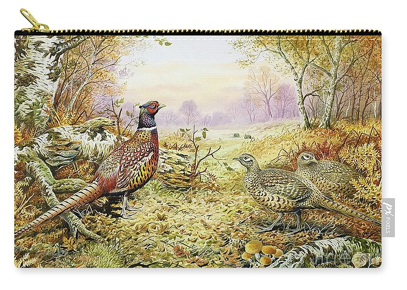 Fungus; Game Bird; Bracken; Rabbits; Pheasant; Pheasants; Tree; Trees; Grass; Leafs; Animals Carry-all Pouch featuring the painting Pheasants In Woodland by Carl Donner