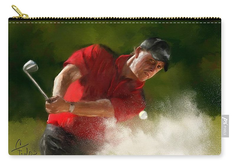 Golf Carry-all Pouch featuring the painting Phil Mickelson - Lefty In Action by Colleen Taylor