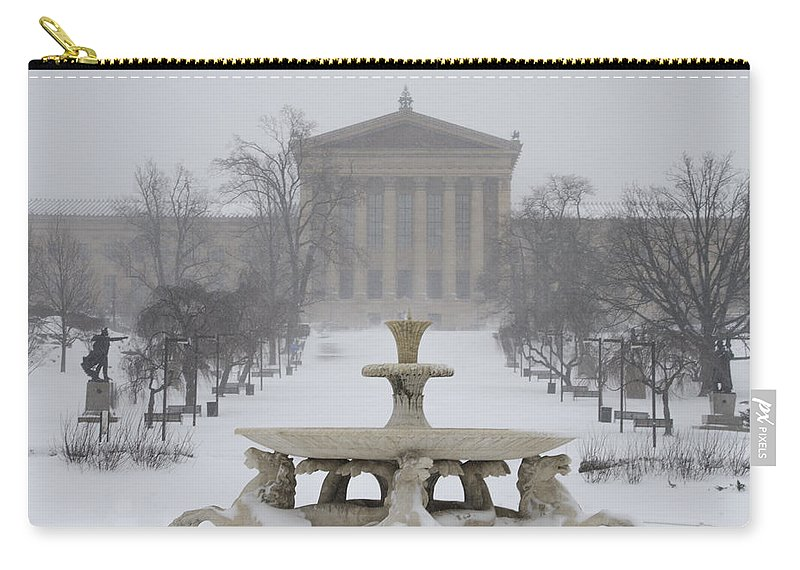 Philadelphia Carry-all Pouch featuring the photograph Philadelphia Art Museum From The West In Winter by Bill Cannon