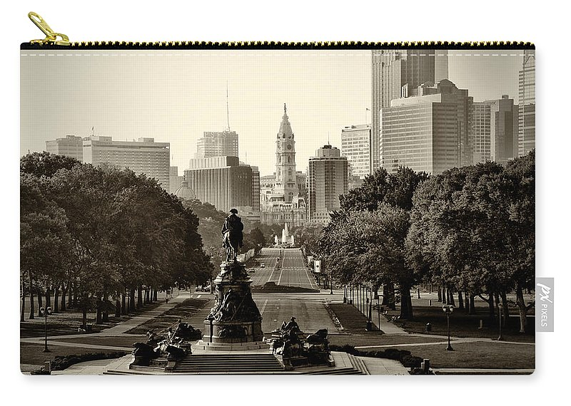 Philadelphia Carry-all Pouch featuring the photograph Philadelphia Benjamin Franklin Parkway In Sepia by Bill Cannon
