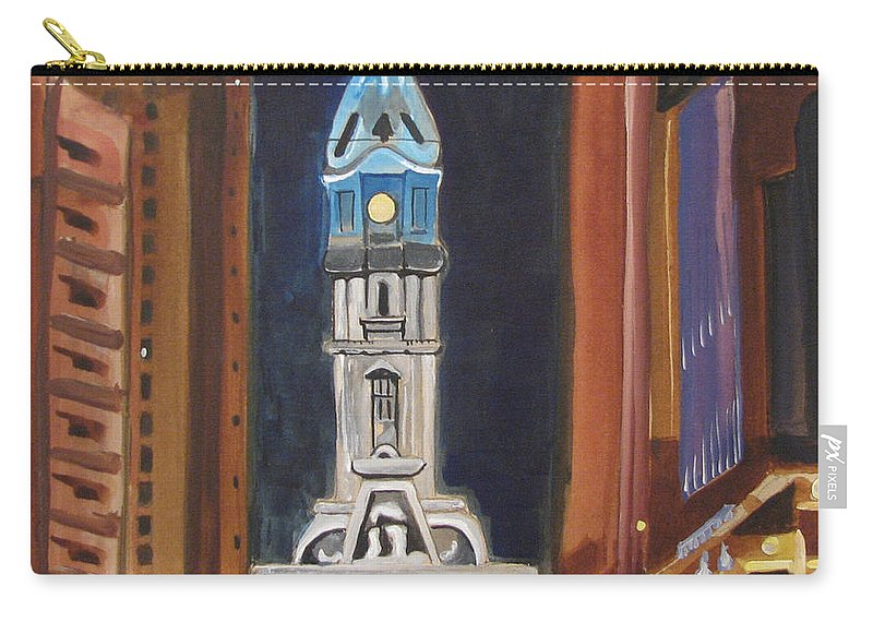 Landmarks Carry-all Pouch featuring the painting Philadelphia City Hall by Patricia Arroyo
