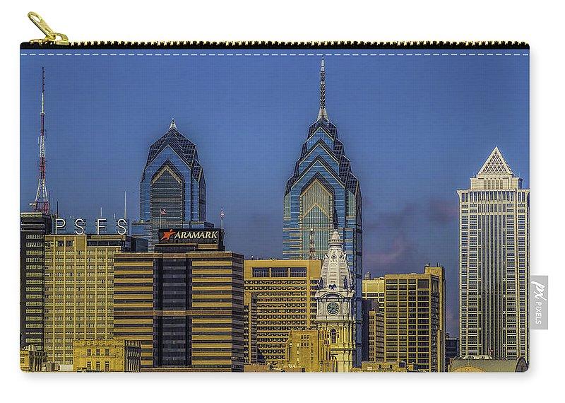 Philadelphia Carry-all Pouch featuring the photograph Philadelphia City Hall Skyline by Nick Zelinsky