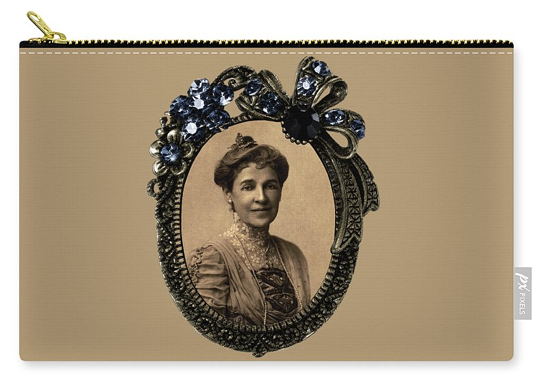 Philadelphia Poet Florence Earle Coates Carry-all Pouch featuring the digital art Philadelphia Poet Florence Earle Coates by Cynthia Leaphart