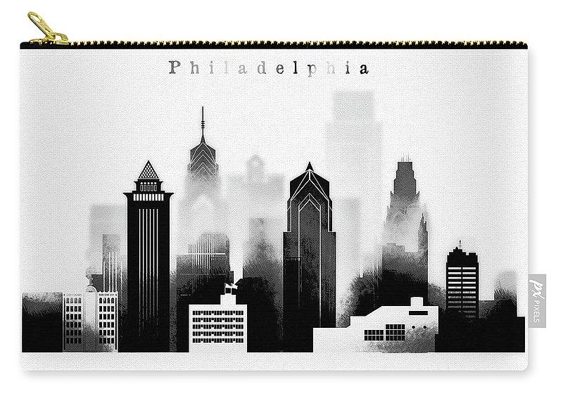 Philadelphia Carry-all Pouch featuring the digital art Philadelphia Skyline Graphic Work by Dim Dom
