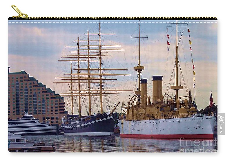 Philadelphia Carry-all Pouch featuring the photograph Philadelphia Waterfront Olympia by Debbi Granruth